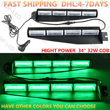 "34"" 32W COB LED Emergency Warning Visor Mount Dash Strobe Light Bar 12/24V Green"