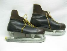 Canadian Flyer Ice Hockey Skates Size 12 Mens Leather Vtg Old Nhl Black Brown