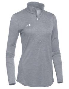 UNDER ARMOUR Women's Locker 1/2 Zip Training Top sz S Small Heather Gray Shirt