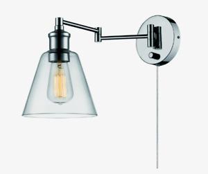 Globe WALL SCONCE Chrome Metallic Clear Glass Mounted Plug-In/Hardwire 65704 NEW