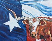 Texas Longhorn Original Art PAINTING DAN BYL Modern Contemporary Large 4x5ft