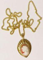 pendentif chaine collier bijou vintage couleur or camée buste femme *3540
