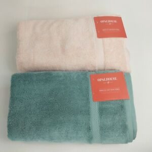 opalhouse blue and pink perfectly soft bath towel 30 in x 54 in lot of two