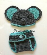 Hand Crochet Elephant Outfit Baby Photography Prop (3-6 Months)