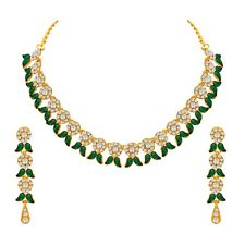 Green Choker Indian Bollywood Fashion Gold Plated Wedding Jewelry Necklace Set