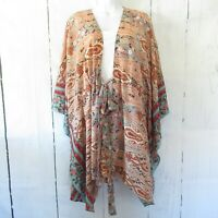 New Gigio By Umgee Kimono L Large Peach Floral Paisley Tie Front Boho Peasant