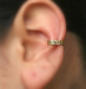 Ear Conch Cuff Fake Piercing Textured Hammered Rose Gold Filled 3.5mm Wide Cuff