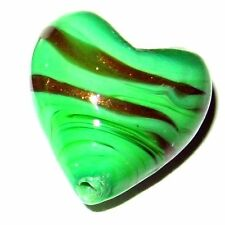 4 Pcs Lampwork Heart Glass Beads - 20mm - Green - A4019