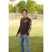 B.TUFF JEANS Logo Chocolate Brown Long Sleeve Steer Head Tee T-Shirt H100189 NWT