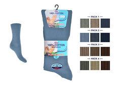 Mens Non Elastic Loose Top Soft Top Diabetics 100% Cotton Socks 6-11