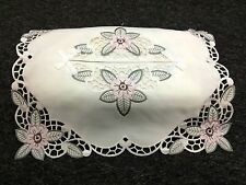Embroidered Pink Flower Green Cutwork Embroidery White Fabric Tissue Box Cover