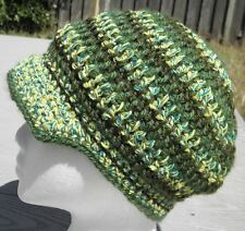 Cool Green Mix Smaller Size Crocheted Hat with a Visor - Handmade by Michaela