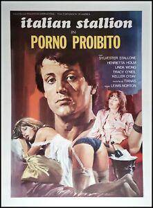 "ITALIAN STALLION Original Movie Poster 39x55"" LINEN BACKED STALLONE PORN ROCKY"