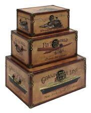 Vintage Storage Trunks Antique Chests Wood Leather Home Decor Furniture Set of 3