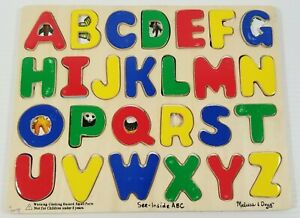 MS) Melissa & Doug Original Wooden See-Inside ABC Puzzle
