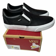 Vans Asher Deluxe Perf Check Black White Men's 8 M Slip On Shoes MISSING INSOLE