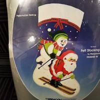 Vintage 1986 Paragon Felt Applique Stocking Kit Ski Party Santa & Snowman 6218