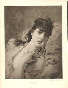 Portrait, Woman And Rose by F.A. Bridgman, Vintage 1890 Antique Art Print