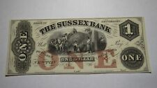 $1 18__ Newton New Jersey Obsolete Currency Bank Note Bill! The Sussex Bank NJ
