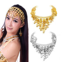 Women Belly Dance Accessories Costume Dancing Coin Sequins Hair Band Headband IJ