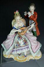 Antique SITZENDORF German Porcelain Figurine ~ Couple Playing Music ~ AS IS
