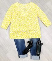 BODEN Floral Yellow And White Blouse Top Sz 12R 3/4 Sleeve 100% Cotton