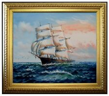 Framed, Sailing Ship 16, Quality Hand Painted Oil Painting 20x24in