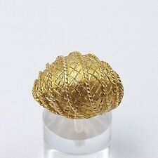 VINTAGE 18K GOLD QUILTED DOME ROPE ACCENT RING Sz 8 DESIGNER QUALITY