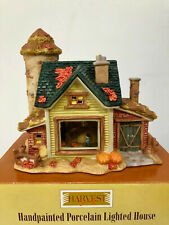 Vintage Harvest Bounty Handpainted Porcelain Lighted Fall Holiday House