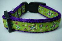 Hundehalsband Halsband Blumen Tracht grün/lila 32 - 50 cm 2 cm breit