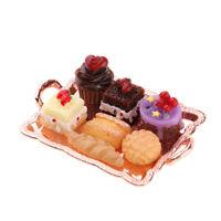 1:12 Dollhouse Miniature Food Cake Set per decorazioni -Rose vassoio dorato
