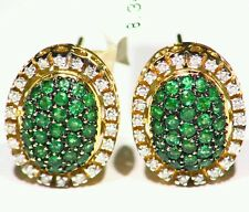 2.03CT 14K Gold Natural Round Cut Emerald White Diamond Halo Engagement Earrings
