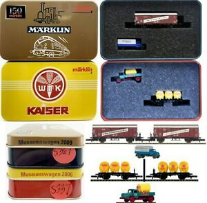 MARKLIN Z SCALE  S367 & S337 - 2 COLLECTOR Freight Cars - C9 in Tin Boxes