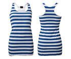 donna blu e Bianco Righe estate MARINAIO TOP GILET LUNGO Costume