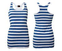 Womens Blue And White Stripes Summer Sailor Long Vest Top Fancy Dress Costume