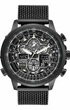 New Citizen JY8037-50E Eco-Drive Chrono Black IP A-T Mesh Band Men's Watch