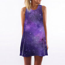 Womens Grils Nebula Floral A-Line Tank Top Mini Dress Casual Party Tunic Shirts