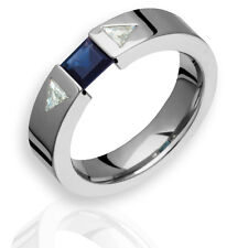 Titanium Diamond Band W Sapphire Gemstones 5.5mm Wide Polished Engagement Ring