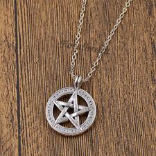 Halskette Pentagramm Anhänger Rund Supernatural Fünfeckig Stern Schmuck Unisex