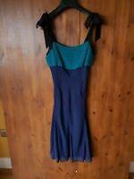 WHISTLES SHIFT DRESS Navy Blue Teal Green Slip A-Line UK 10 / 38 - VGC