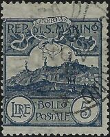 San Marino - 1903 - Cifra o vedute - Lire 5 ardesia - usato - n.45