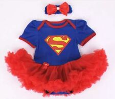 BABY GIRL SUPERMAN SUPERGIRL ROMPER TUTU COSTUME with free headband SIZE 000-2