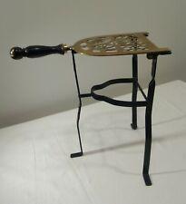 Antique Brass Wrought Iron Wooden Handle Fireside Hearth Trivet Kettle Stand