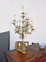 Vintage Tole French Provincial Gold Gilt Table Lamp with seven Lights