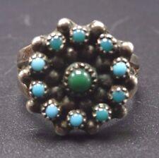 Vintage ZUNI Sterling Silver & Petit Point TURQUOISE Snake Eye RING, size 9