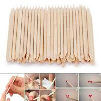 100X Nail Art Cuticle Pusher Remover Pedicure Manicure Sticks Orange Wood H P0R5
