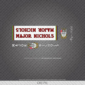 0575 Major Nichols Bicycle Frame Stickers - Decals - Transfers