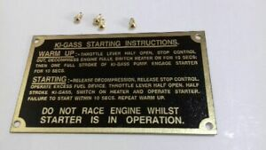 FERGUSON TEF20 Ki-Gass Starting Instruction Plate Badge & Brass Rivets