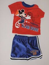 Disney Baby Athletic Outfit Mickey Mouse Basketball Shirt Shorts Slam Dunk 6M-9M