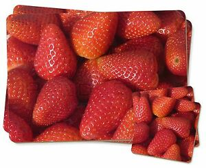 Strawberries Print Twin 2x Placemats+2x Coasters Set in Gift Box, F-F5PC